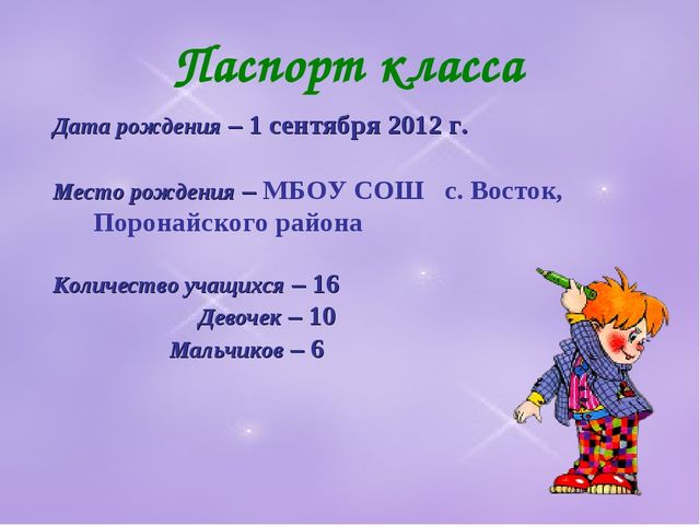 Паспорт класса Дата рождения – 1 сентября 2012 г. Место рождения – МБОУ СОШ с...