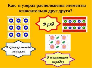 Как в узорах расположены элементы относительно друг друга? В ряд В клетке меж