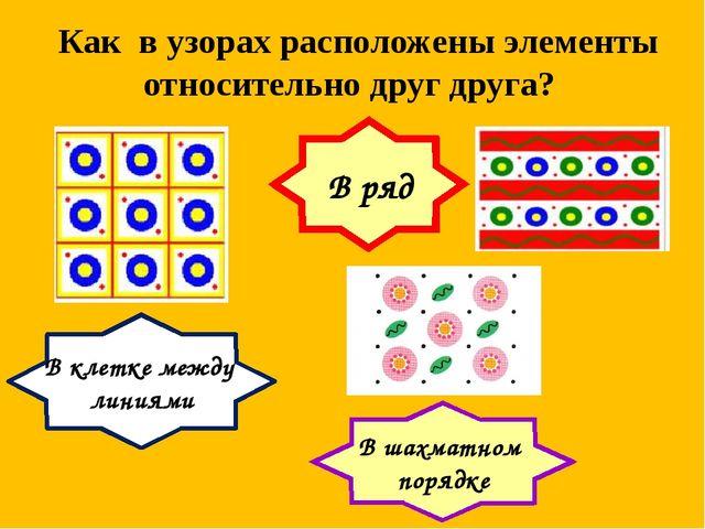 Как в узорах расположены элементы относительно друг друга? В ряд В клетке меж...