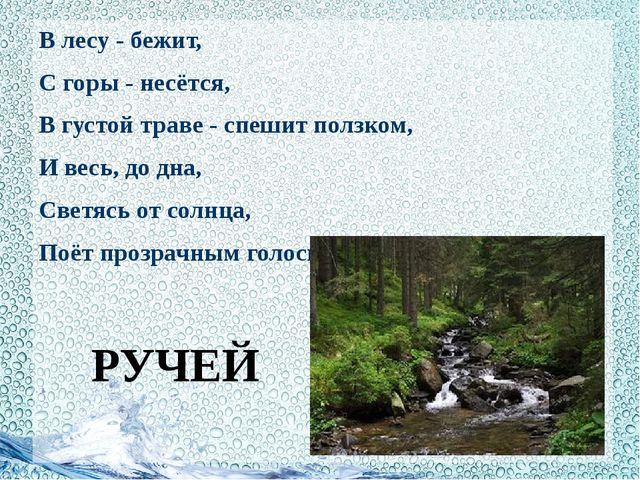 В лесу - бежит, С горы - несётся, В густой траве - спешит ползком, И весь, д...
