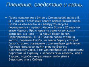 После поражения в битве у Солениковой ватаги Е. И. Пугачев с остатками своего