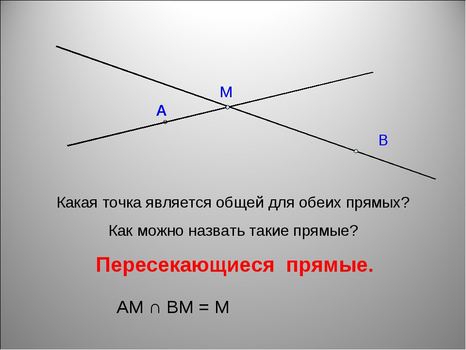 Какая точка является общей для обеих прямых? Как можно назвать такие прямые?...