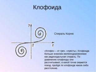 Клофоида Спираль Корню «Клофо» – от греч. «прясть». Клофоида больше знакома ж