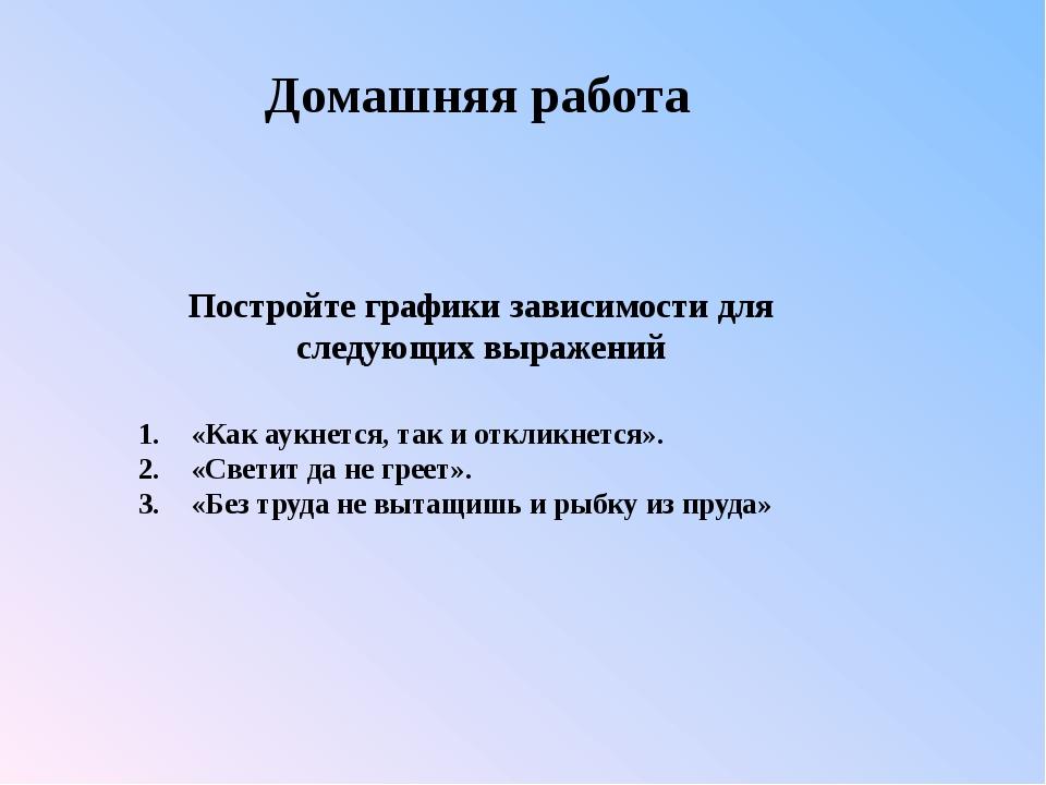 1.«Как аукнется, так и откликнется». 2.«Светит да не греет». 3.«Без труда...
