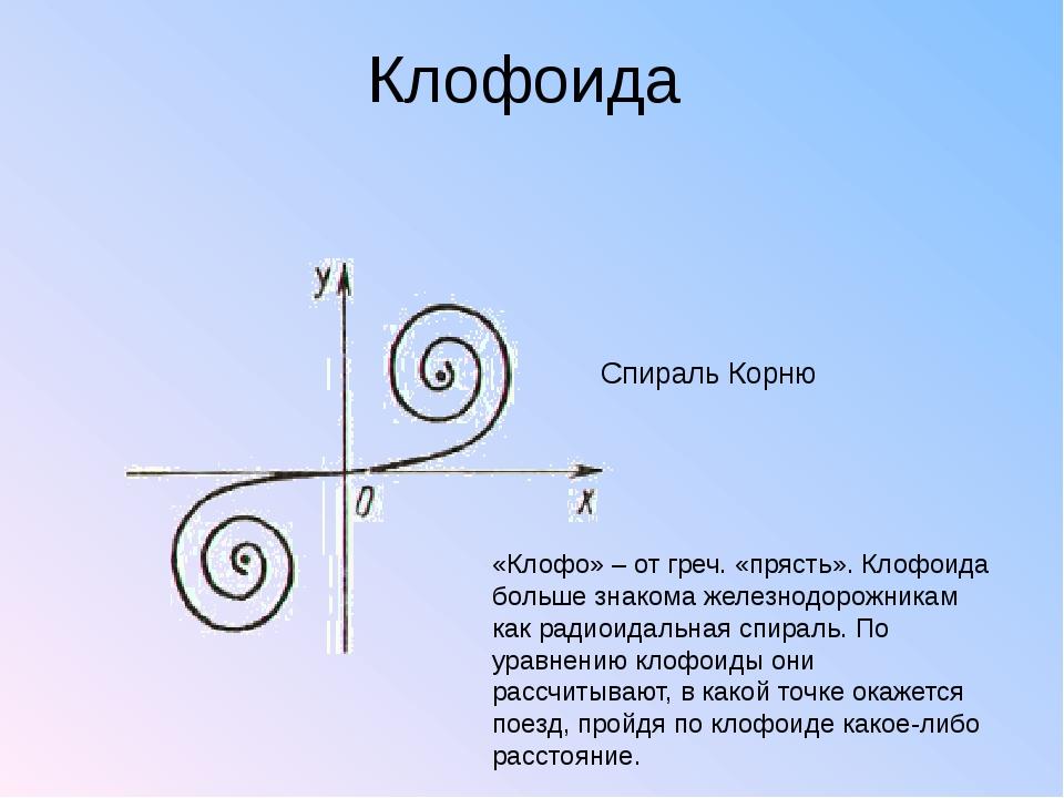 Клофоида Спираль Корню «Клофо» – от греч. «прясть». Клофоида больше знакома ж...
