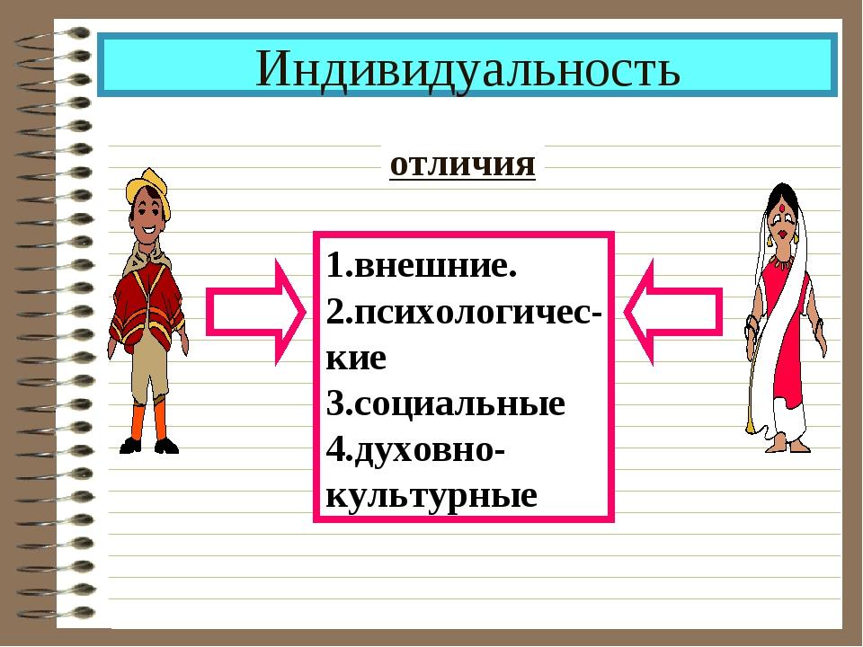 Индивидуальность отличия 1.внешние. 2.психологичес- кие 3.социальные 4.духовн...