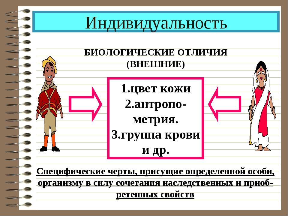 Индивидуальность БИОЛОГИЧЕСКИЕ ОТЛИЧИЯ (ВНЕШНИЕ) 1.цвет кожи 2.антропо- метри...