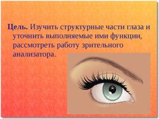 Цель. Изучить структурные части глаза и уточнить выполняемые ими функции, рас