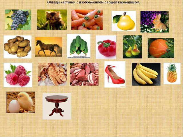 Обведи картинки с изображением овощей карандашом.