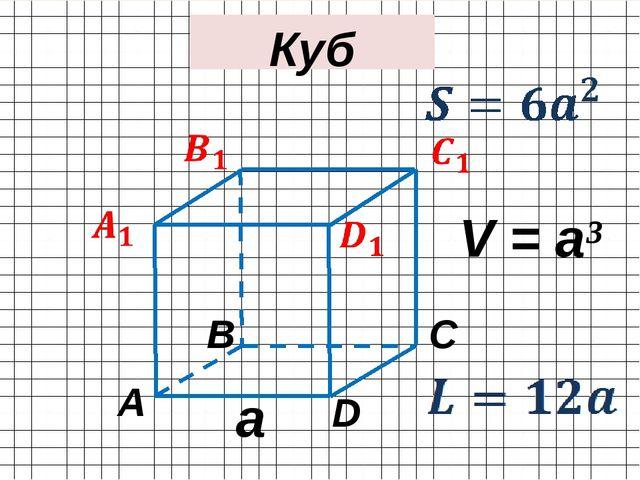 A С B D Куб a V = a³