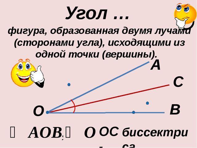 Угол … ∠ AOB, ∠ O А В О фигура, образованная двумя лучами (сторонами угла), и...