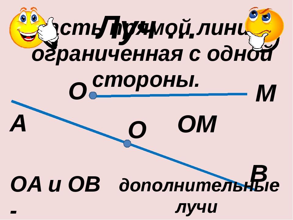 Луч … А В М О ОA и ОB - часть прямой линии, ограниченная с одной стороны. О О...