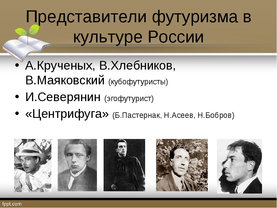 Представители футуризма в культуре России А.Крученых, В.Хлебников, В.Маяковск...