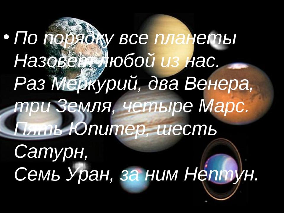 По порядку все планеты Назовет любой из нас. Раз Меркурий, два Венера, три Зе...