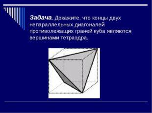 Задача. Докажите, что концы двух непараллельных диагоналей противолежащих гра