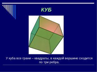 У куба все грани – квадраты, в каждой вершине сходится по три ребра. КУБ