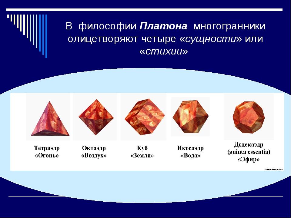 В философии Платона многогранники олицетворяют четыре «сущности» или «стихии»