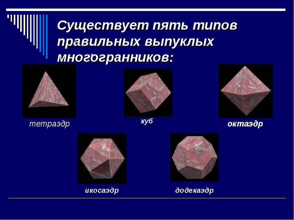 Существует пять типов правильных выпуклых многогранников: тетраэдр октаэдр ку...