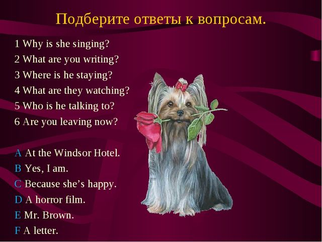 Подберите ответы к вопросам. 1 Why is she singing? 2 What are you writing? 3...