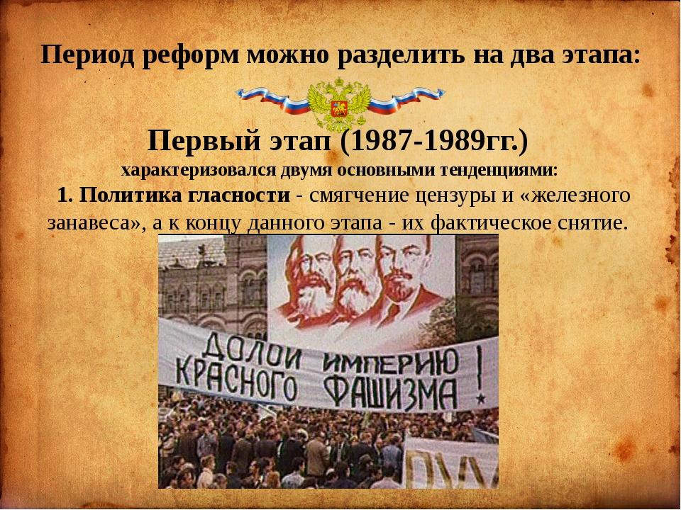Период реформ можно разделить на два этапа: Первый этап (1987-1989гг.) харак...