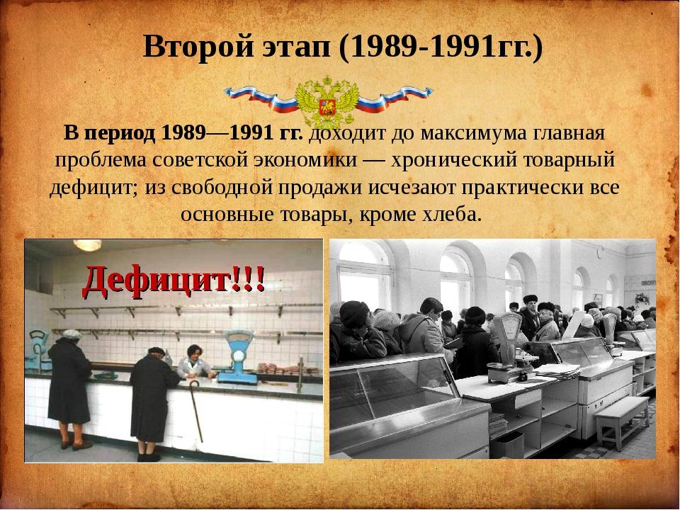 Второй этап (1989-1991гг.) В период 1989—1991 гг. доходит до максимума глав...