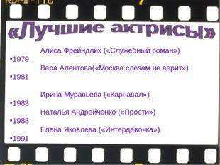 1978—Алиса Фрейндлих («Служебный роман») 1979—Алла Пугачёва(«Женщина, ко