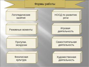 Логопедические занятия НООД по развитию речи Режимные моменты Прогулки, экску