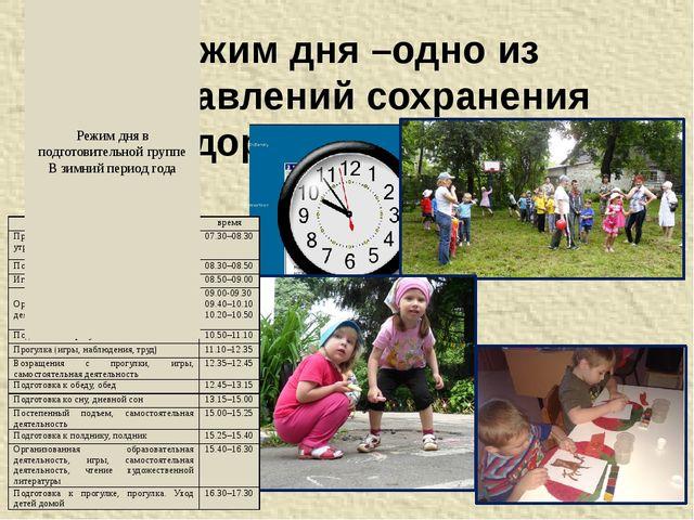 Режим дня –одно из направлений сохранения здоровья ребенка Режим дня в подгот...