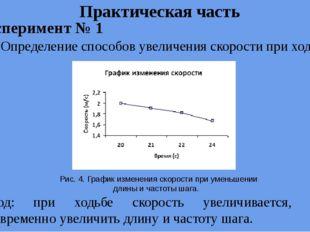 Практическая часть Рис. 4. График изменения скорости при уменьшении длины и ч