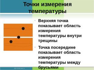 Точки измерения температуры Верхняя точка показывает область измерения темпер