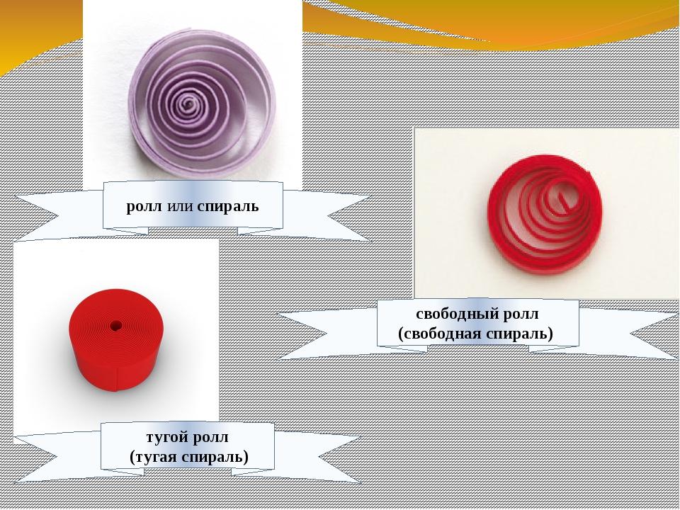 свободный ролл (свободная спираль) тугой ролл (тугая спираль) ролл или спираль