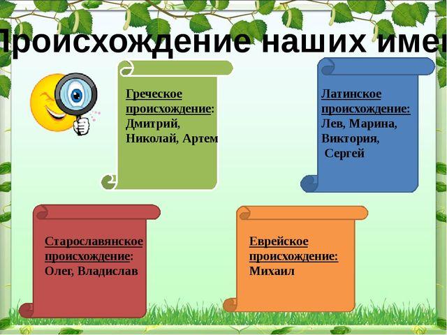 Происхождение наших имен Греческое происхождение: Дмитрий, Николай, Артем Лат...