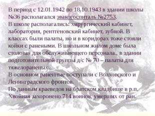 В период с 12.01.1942 по 18.10.1943 в здании школы №36 располагался эвакогосп