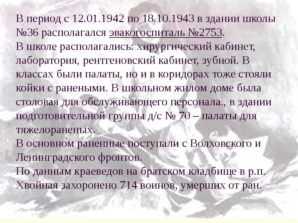 В период с 12.01.1942 по 18.10.1943 в здании школы №36 располагался эвакогосп...