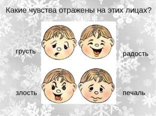 Какие чувства отражены на этих лицах? радость печаль грусть злость