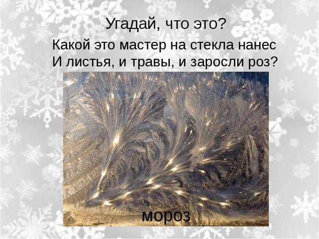 Угадай, что это? Какой это мастер на стекла нанес И листья, и травы, и зарос...