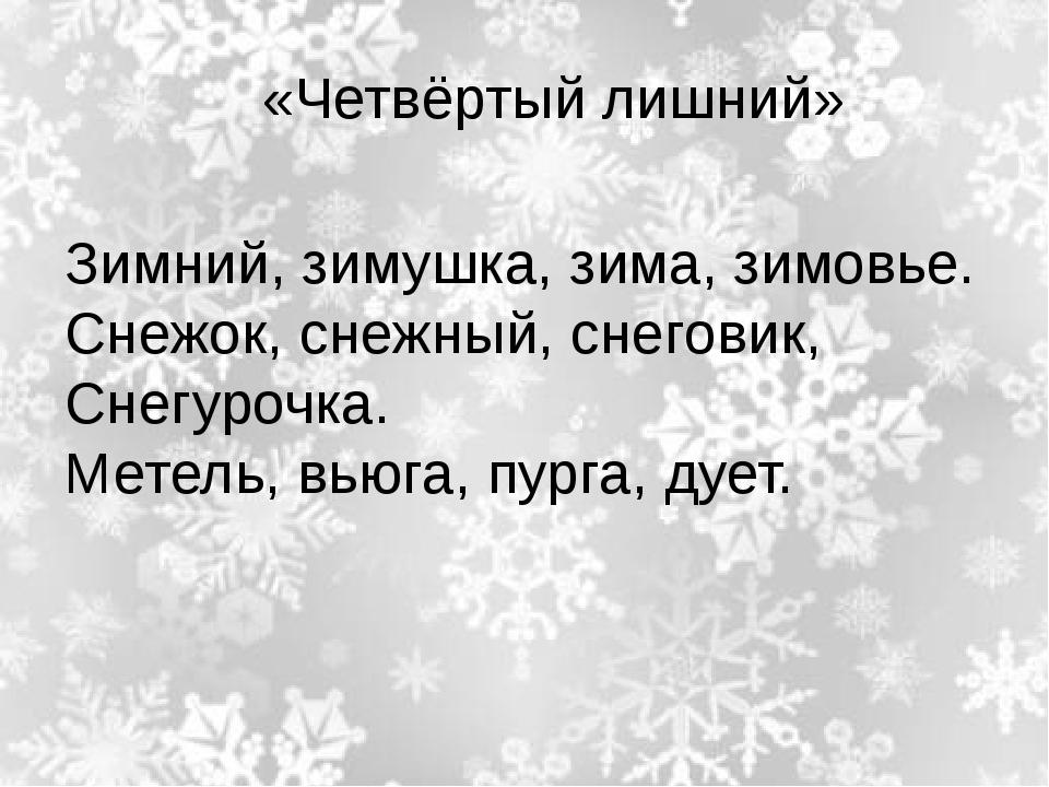 «Четвёртый лишний» Зимний, зимушка, зима, зимовье. Снежок, снежный, снеговик...