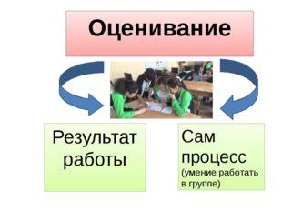 Оценивание Результат работы Сам процесс (умение работать в группе)