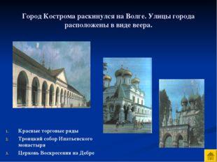 Город Кострома раскинулся на Волге. Улицы города расположены в виде веера. Кр