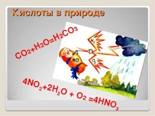 Кислоты в природе СO2+H2O=H2СO3 4NO2+2H2O + O2 =4HNO3