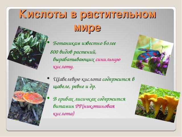 Кислоты в растительном мире Ботаникам известно более 800 видов растений, выра...