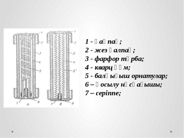 1 - қақпақ; 2 - жез қалпақ; 3 - фарфор тұрба; 4 - кварц құм; 5 - балқығыш орн...