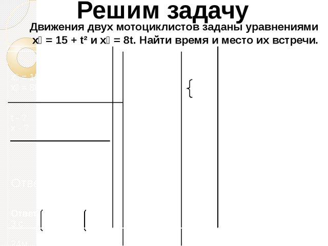 Решим задачу Движения двух мотоциклистов заданы уравнениями х₁ = 15 + t² и х...