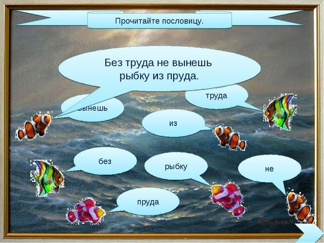 Прочитайте пословицу. вынешь без пруда из труда рыбку не Без труда не вынешь...