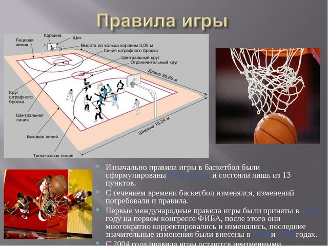 Изначально правила игры в баскетбол были сформулированы Нейсмитом и состояли...