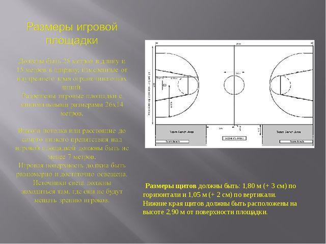 Размеры щитов должны быть: 1,80 м (+ 3 см) по горизонтали и 1,05 м (+ 2 см)...