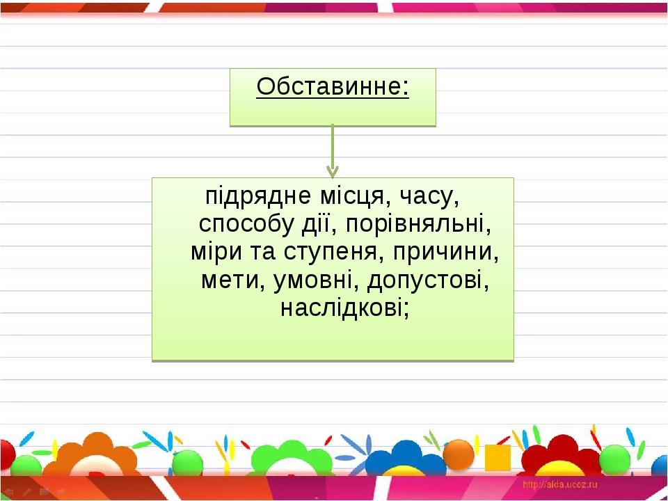 Обставинне: підрядне місця, часу, способу дії, порівняльні, міри та ступеня,...