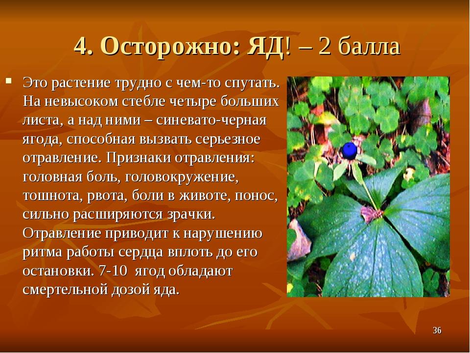 4. Осторожно: ЯД! – 2 балла Это растение трудно с чем-то спутать. На невысоко...