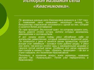 История названия села «Квасниковка». По архивным данным село Квасниковка воз