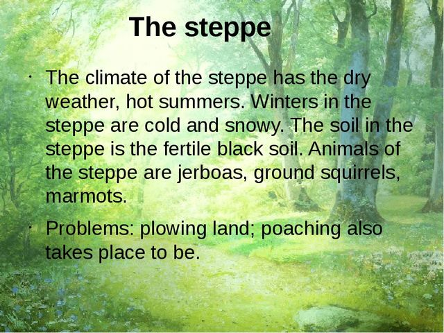 The steppe The climate of the steppe has the dry weather, hot summers. Winter...